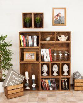 RUDOS Medinės dėžės – lentynos
